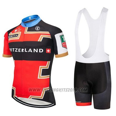 2019 Cycling Jersey Switzerland Red Black Short Sleeve and Bib Short (2)